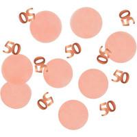 Confettis de table corail et rosé or 50