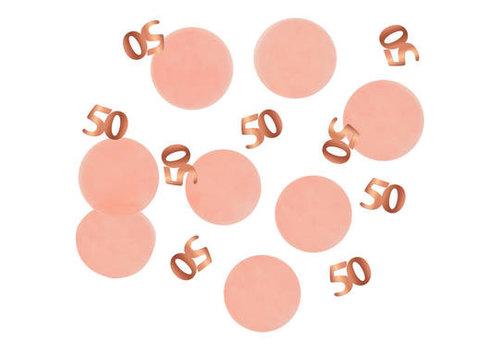 Tafelconfetti zalm met roségoud 50