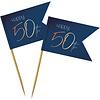 Perfect Decorations Pics à gâteaux  Happy 50th bleu