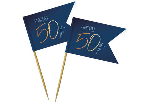 Cupcake topper Happy 50th  blauw