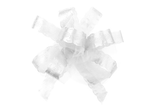 Noeud Automatique En Tulle Blanc (5pcs)