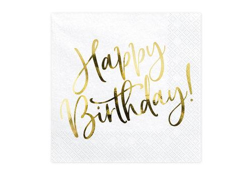 Serviettes en papier happy birthday or (20 pcs)