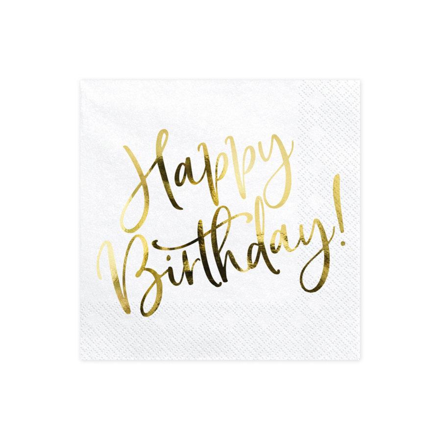 Servet happy birthday goud (20 st.)-1