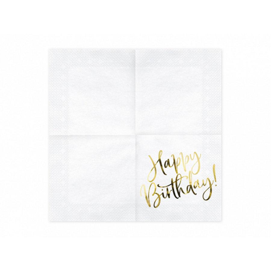 Servet happy birthday goud (20 st.)-2