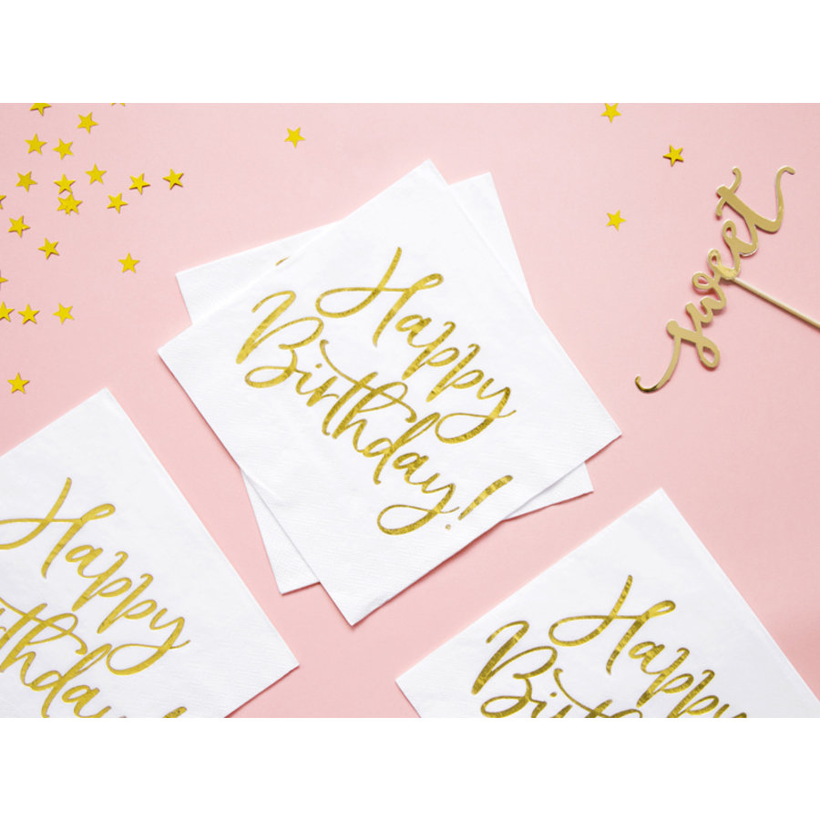 Servet happy birthday goud (20 st.)-4