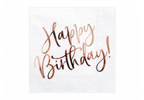 Serviettes en papier happy birthday rosé d'or (20 pcs