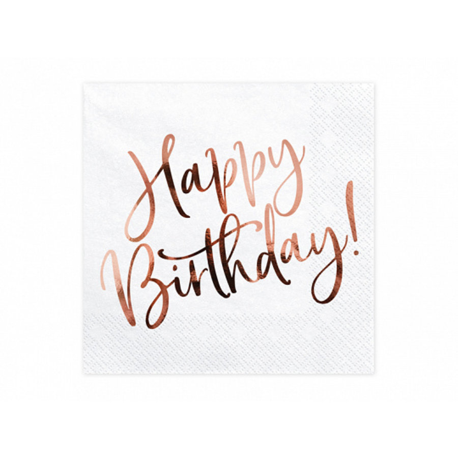 Servet happy birthday rosé goud (20 st.)-1