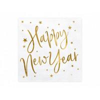 thumb-Servet Happy New Year goud (20 st.)-1