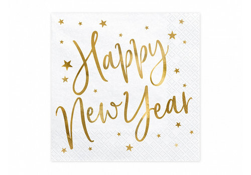 Servet Happy New Year goud (20 st.)