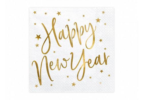 Serviettes en papier Happy New Year or (20 pcs)