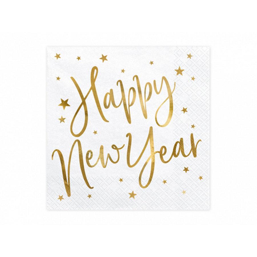 Servet Happy New Year goud (20 st.)-1