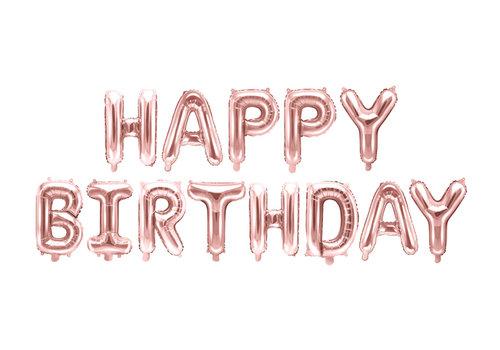 "Ballon aluminium ""Happy Birthday"" rose"