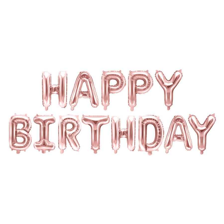Folieballon Happy Birthday rosé-1