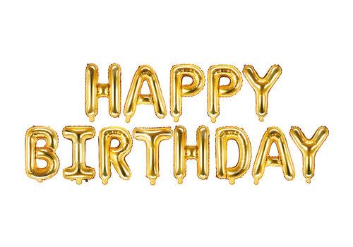 "Ballon aluminium ""Happy Birthday"" d'or"
