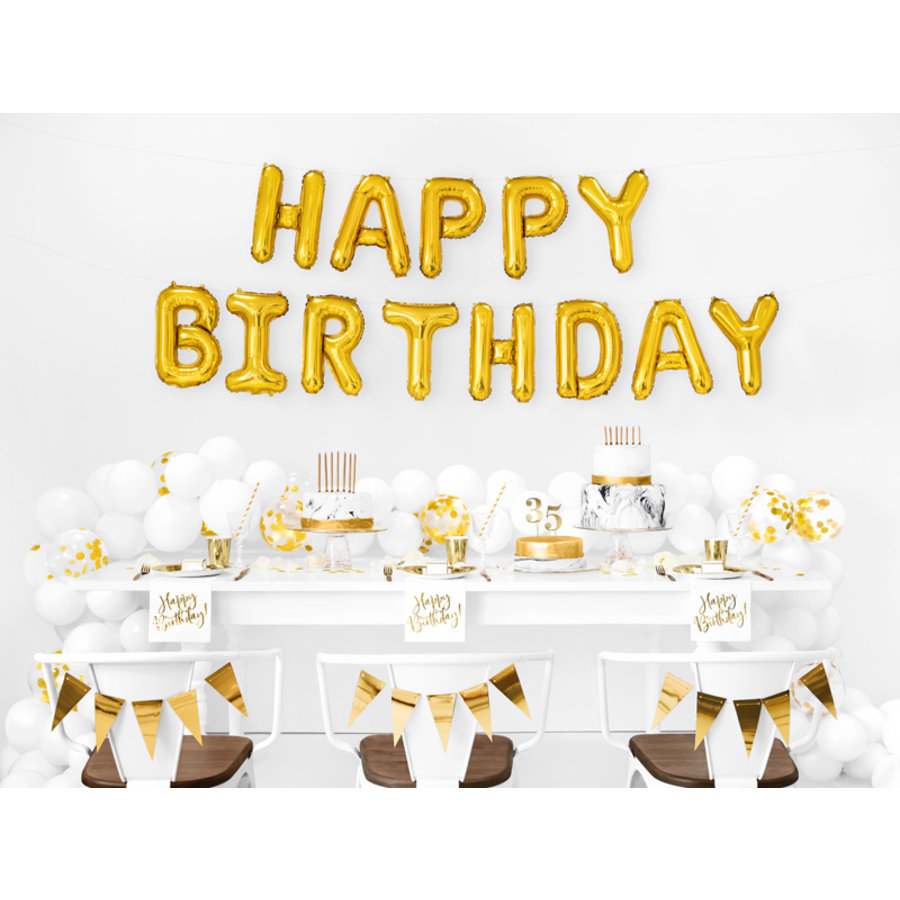 Folieballon Happy Birthday goud-2