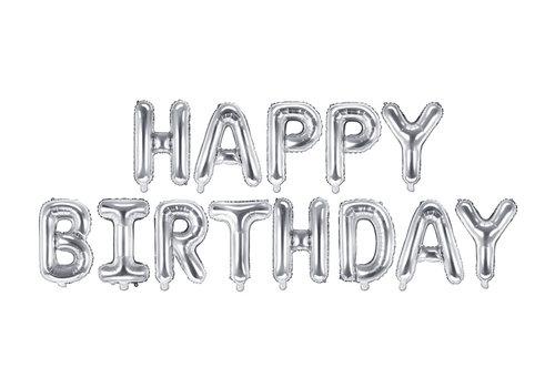 "Ballon aluminium ""Happy Birthday"" d'argent"