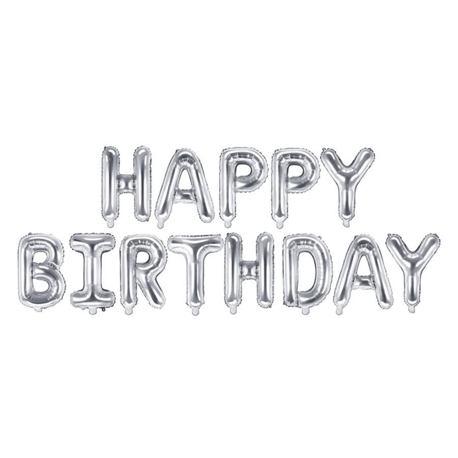 Folieballon Happy Birthday zilver-1
