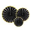 Perfect Decorations Papieren waaiers zwart met goud (3 stuks)