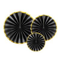 thumb-Papieren waaiers zwart met goud (3 stuks)-1