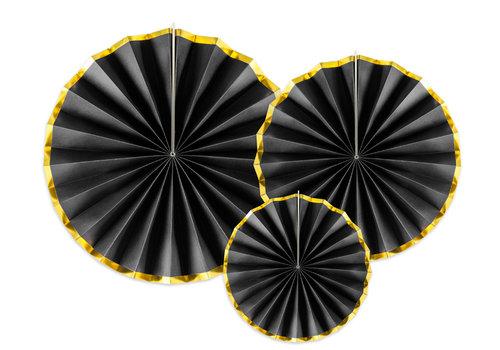 Papieren waaiers zwart met goud (3 stuks)