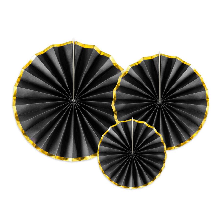 Papieren waaiers zwart met goud (3 stuks)-1