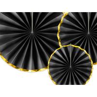 thumb-Papieren waaiers zwart met goud (3 stuks)-3