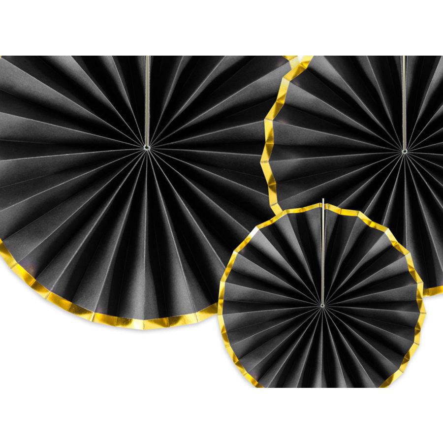 Papieren waaiers zwart met goud (3 stuks)-3