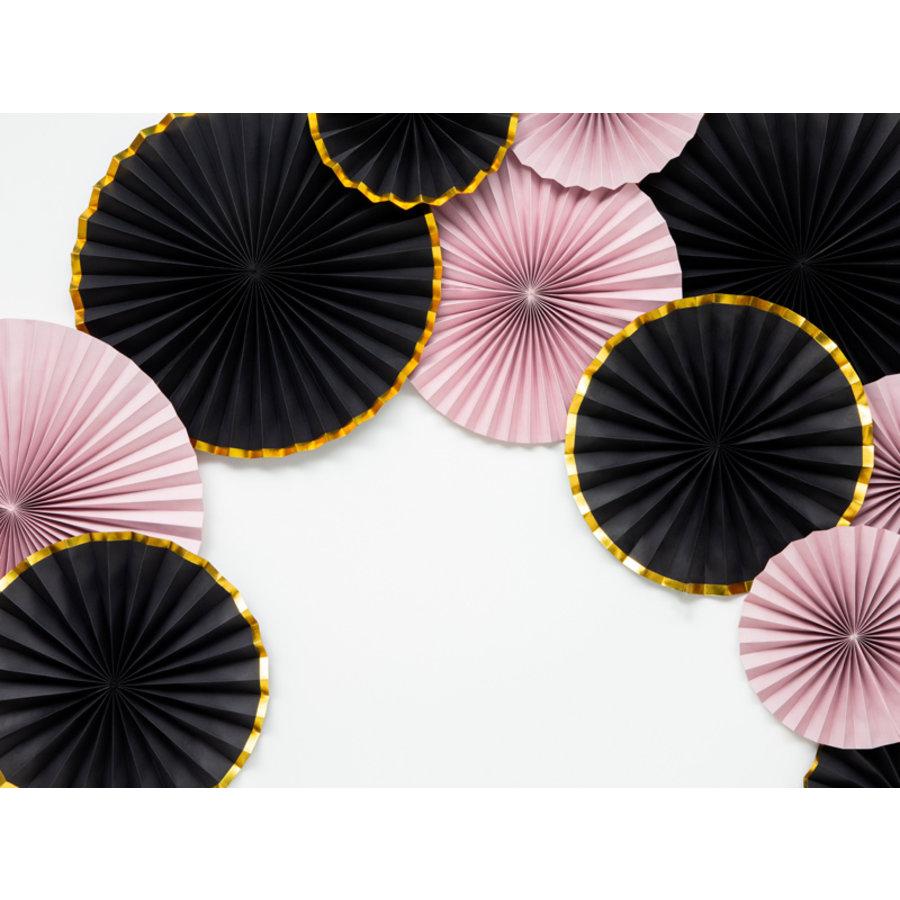 Papieren waaiers zwart met goud (3 stuks)-4