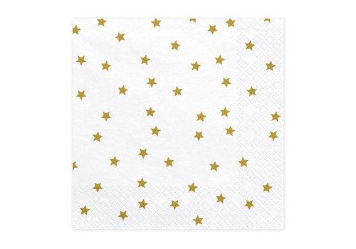 Serviettes en papier etoiles or (20 pcs)