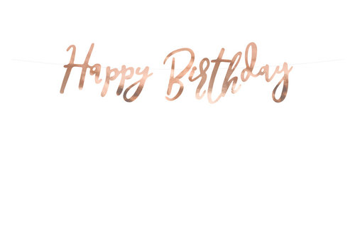 Guirlande happy birthday d'or rose