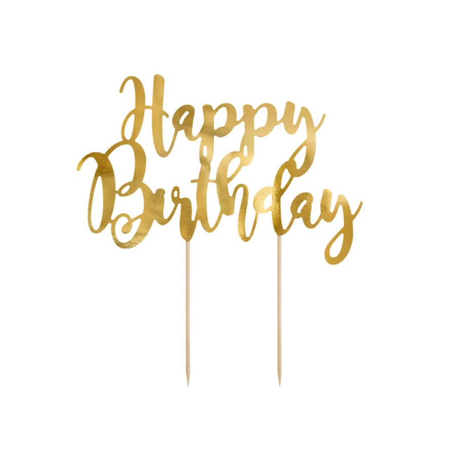Taarttopper Happy Birthday goud-1