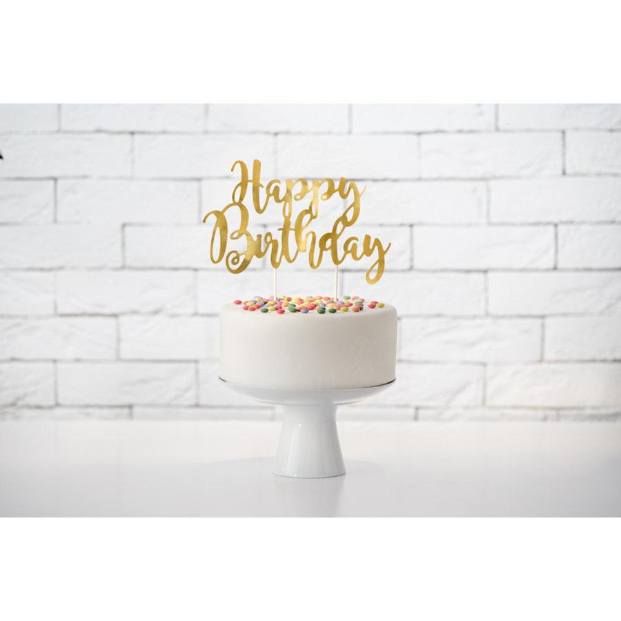 Taarttopper Happy Birthday goud-3