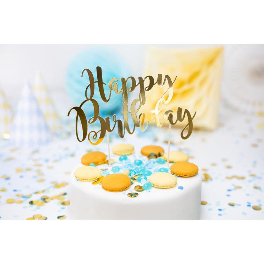 Taarttopper Happy Birthday goud-4