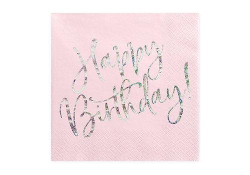 Serviettes en papier happy birthday argent (20 pcs)
