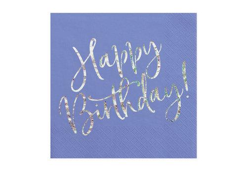Servet happy birthday paars (20 st.)