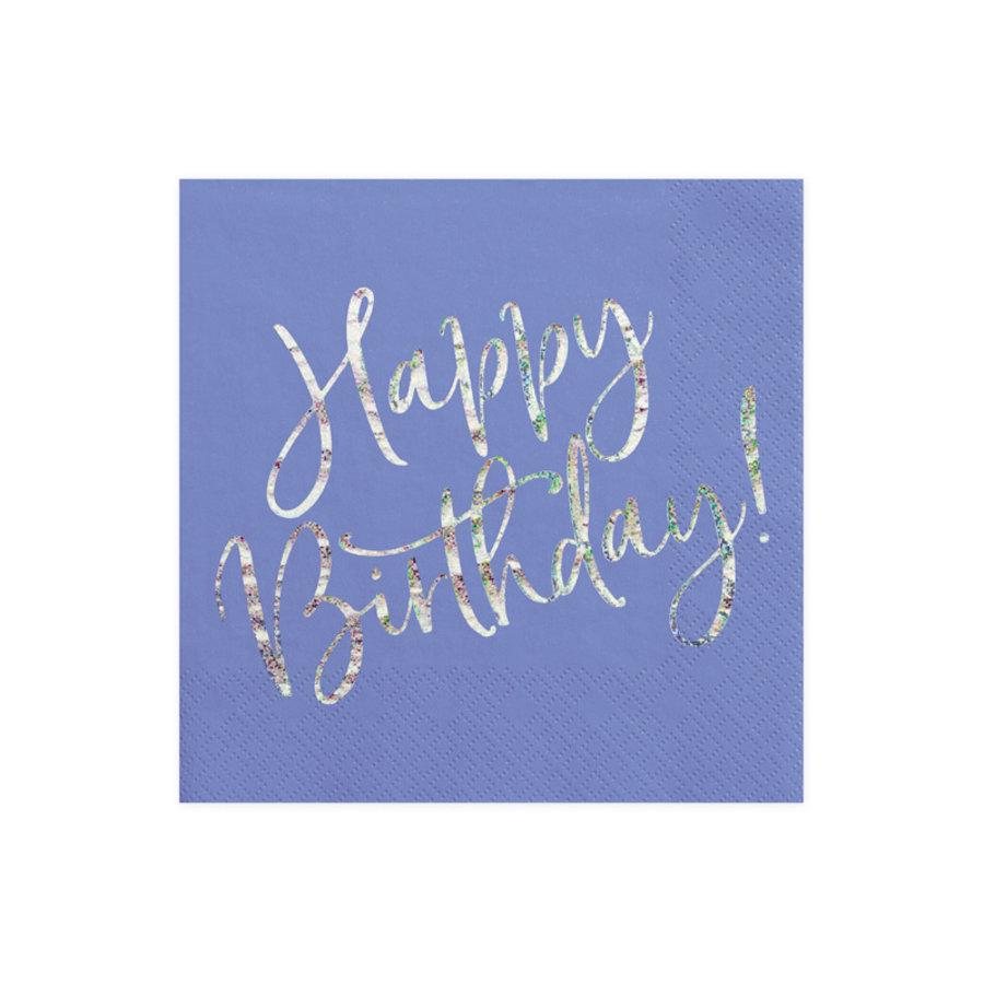 Servet happy birthday paars (20 st.)-1