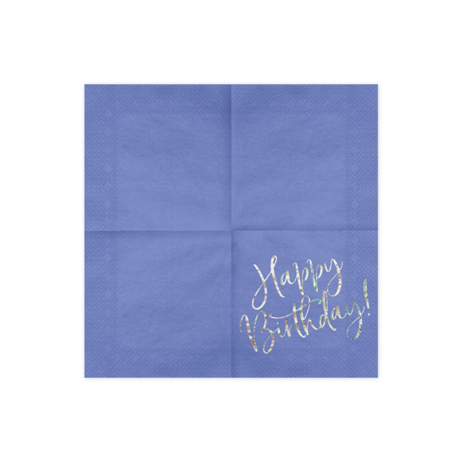 Servet happy birthday paars (20 st.)-2