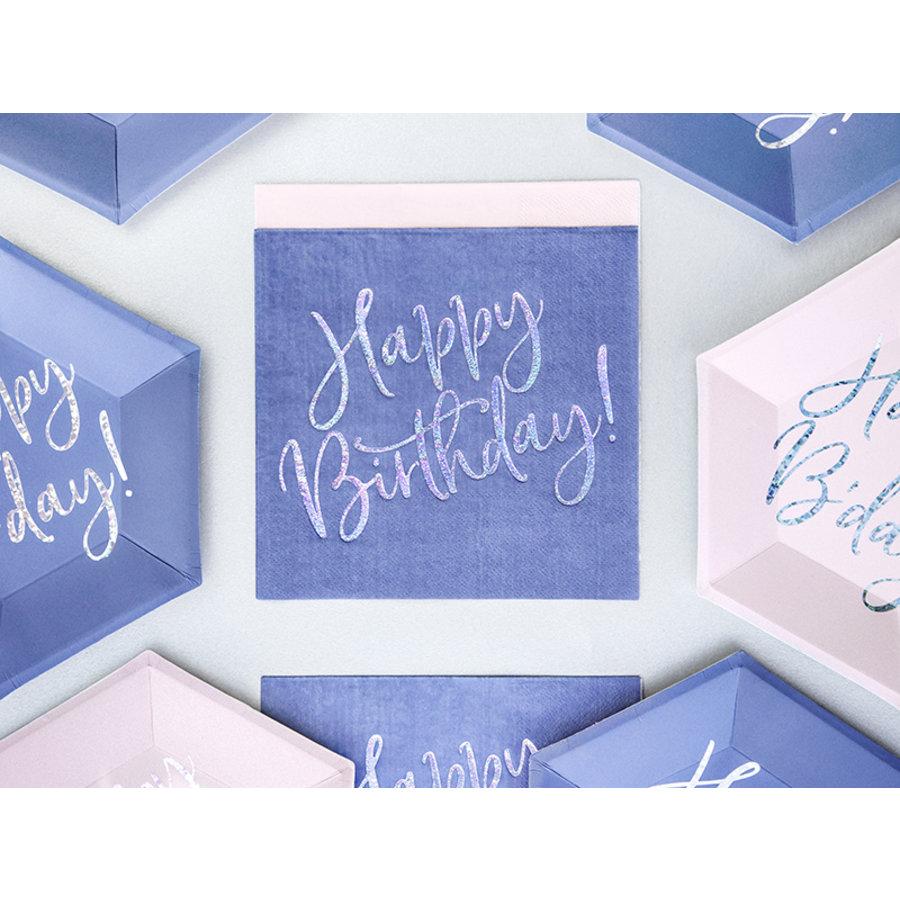 Servet happy birthday paars (20 st.)-3