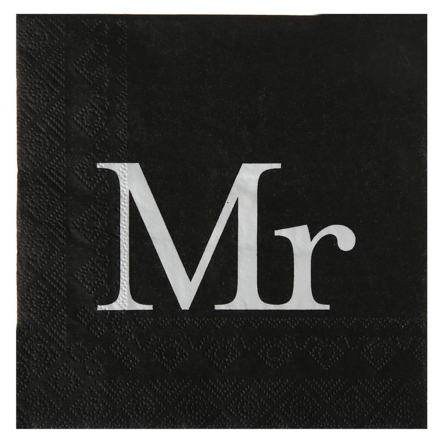 Servetten zwart Mr (20 stuks)-1