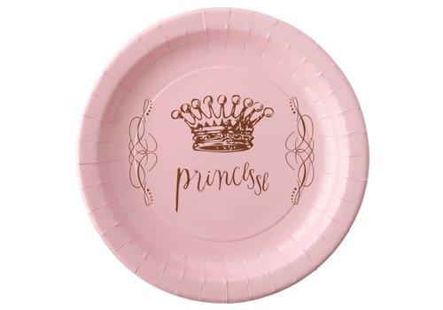 Roze bordjes prinses (6 stuks)