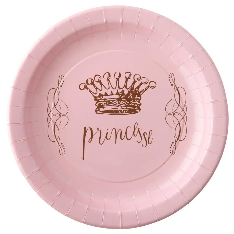 Roze bordjes prinses (6 stuks)-1
