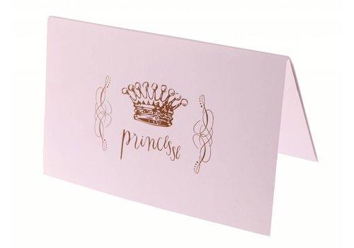 Roze kaarten prinses (6 stuks)