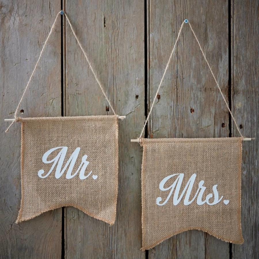 Jute vlaggetjes Mr & Mrs-2