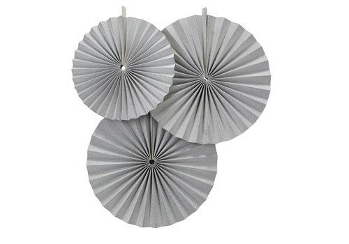Papieren waaier zilver (3 stuks)