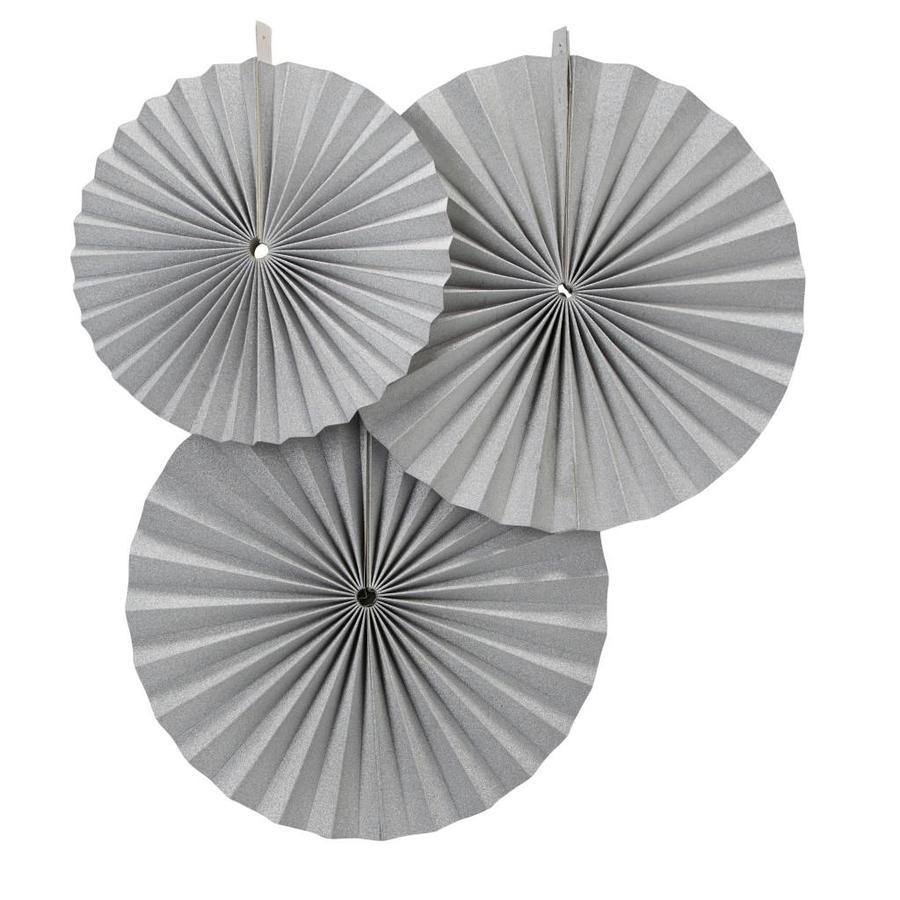 Papieren waaier zilver (3 stuks)-1