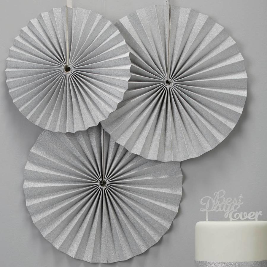 Papieren waaier zilver (3 stuks)-2