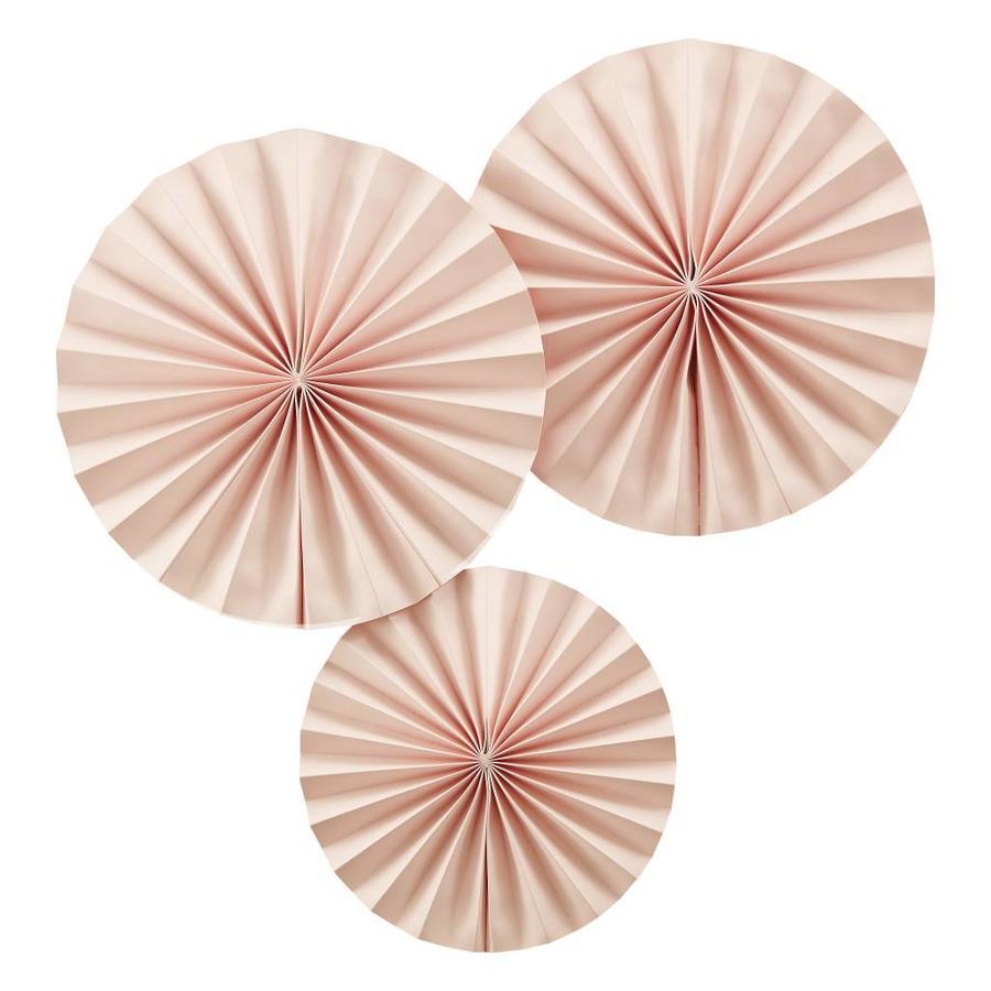 Papieren waaier roze (3 stuks)-1