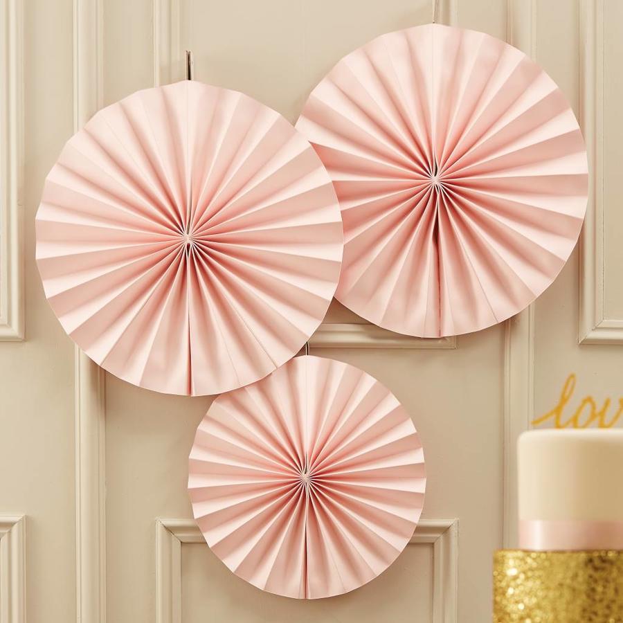 Papieren waaier roze (3 stuks)-2