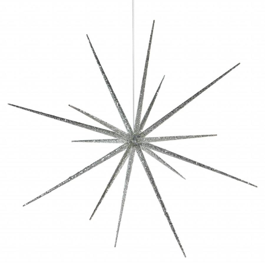 Zilveren glitter ster groot-1