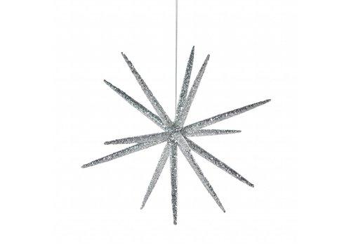 Zilveren glitter ster klein